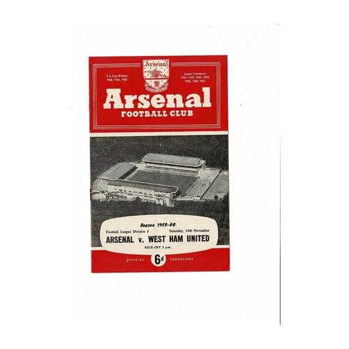 1959/60 Arsenal v West Ham United Football Programme