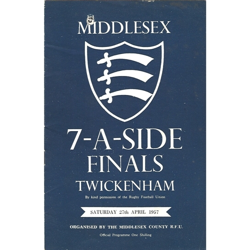 1957 Middlesex Sevens Rugby Union Programme