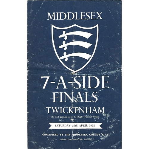 1958 Middlesex Sevens Rugby Union Programme