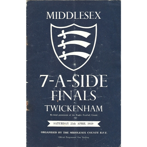 1959 Middlesex Sevens Rugby Union Programme