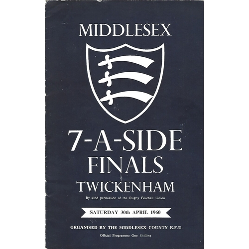 1960 Middlesex Sevens Rugby Union Programme