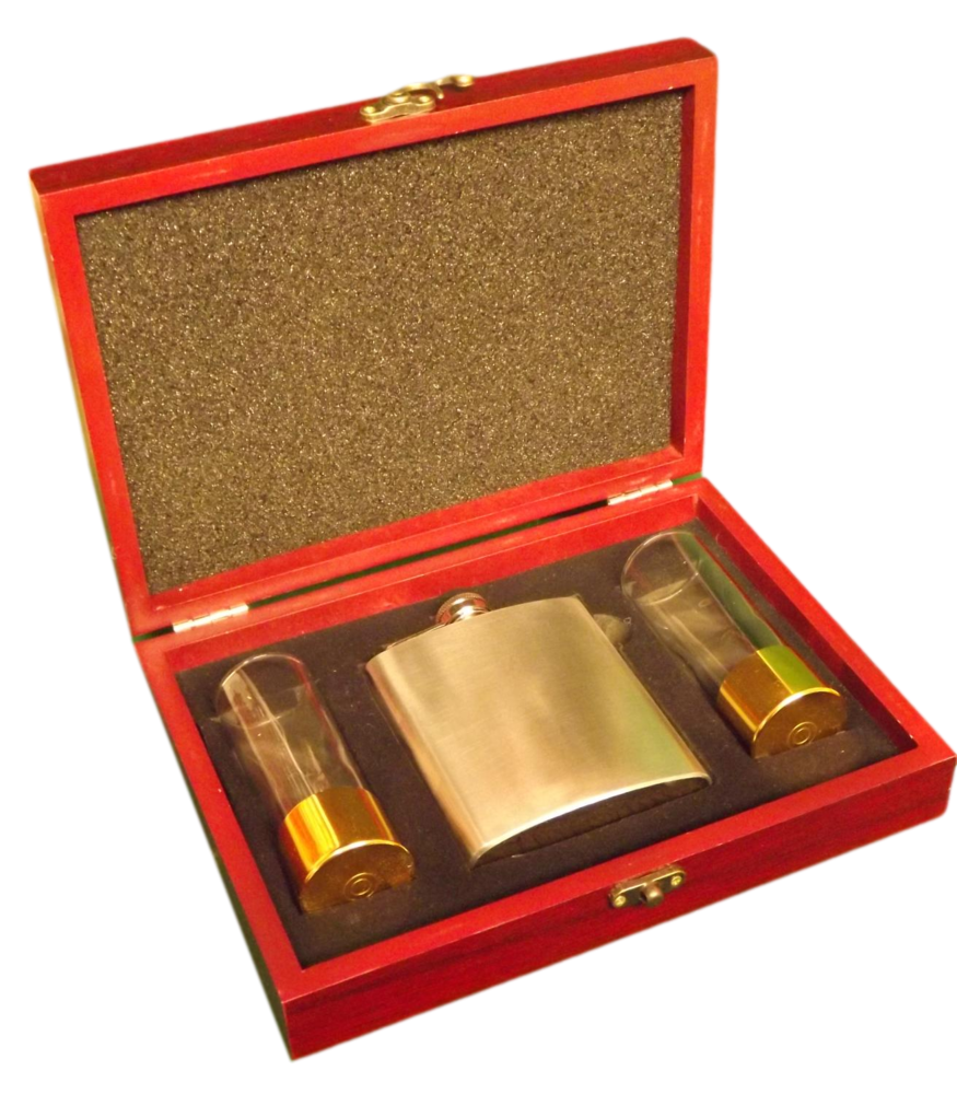 Hip Flask & Shot glasses gift boxed