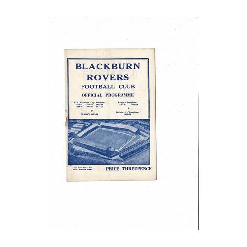 1953/54 Blackburn Rovers v Birmingham City Football Programme