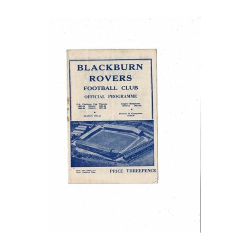 1953/54 Blackburn Rovers v Leicester City Football Programme
