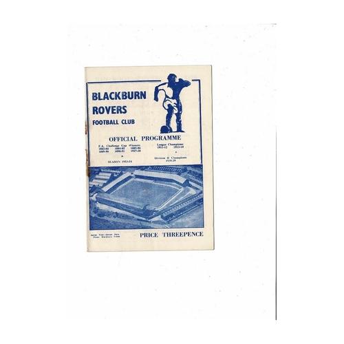 1953/54 Blackburn Rovers v Nottingham Forest Football Programme