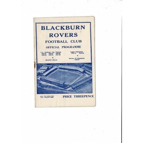1953/54 Blackburn Rovers v Oldham Athletic Football Programme