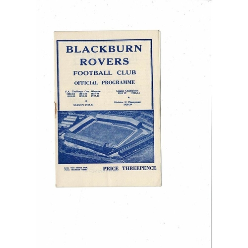 1953/54 Blackburn Rovers v Stoke City Football Programme