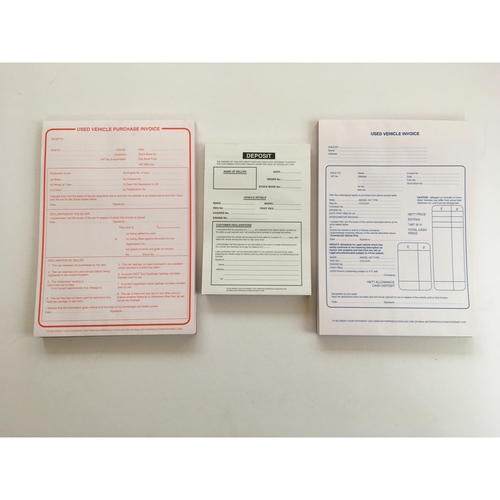 Used Vehicle Sales & Purchase Pad & Deposit Pad