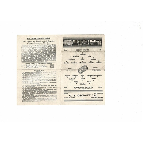 1945/46 Derby County v Tottenham Hotspur Football Programme