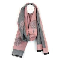 Pink tree of life jacquard scarf