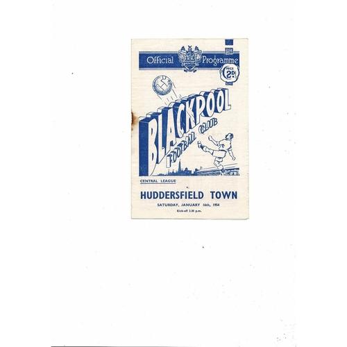 1953/54 Blackpool v Huddersfield Central League Football Programme