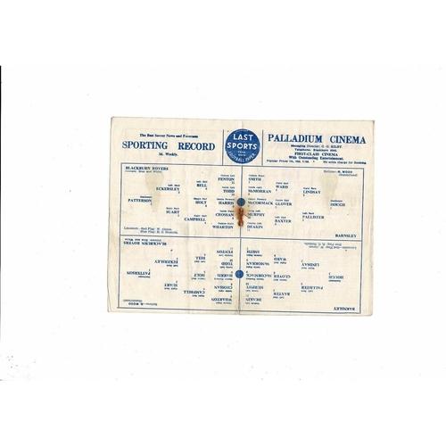 1950/51 Blackburn Rovers v Barnsley Football Programme