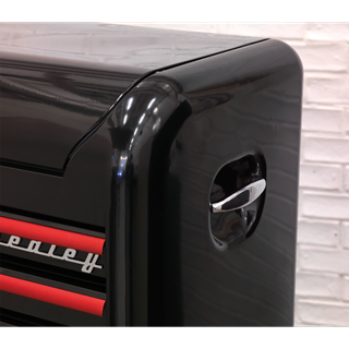 Topchest 4 Drawer Retro Style - Black with Red Anodised Drawer Pulls - AP28104BR