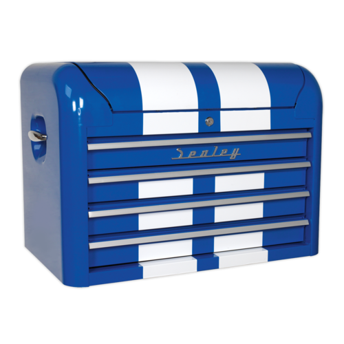 Topchest 4 Drawer Retro Style - Blue with White Stripes - Sealey - AP28104BWS