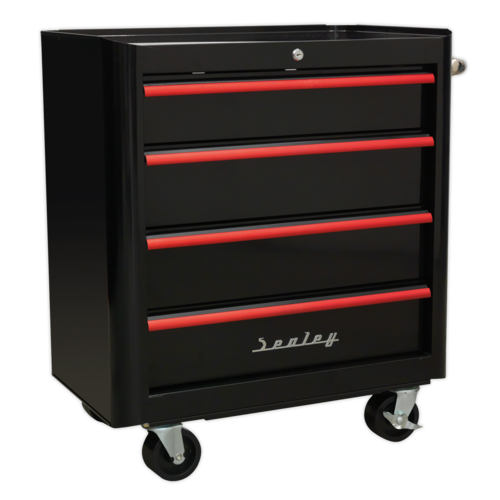 Rollcab 4 Drawer Retro Style- Black with Red Anodised Drawer Pulls - AP28204BR
