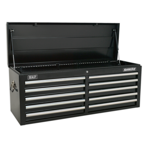 Topchest 10 Drawer with Ball Bearing Slides - Black - Sealey - AP5210TB