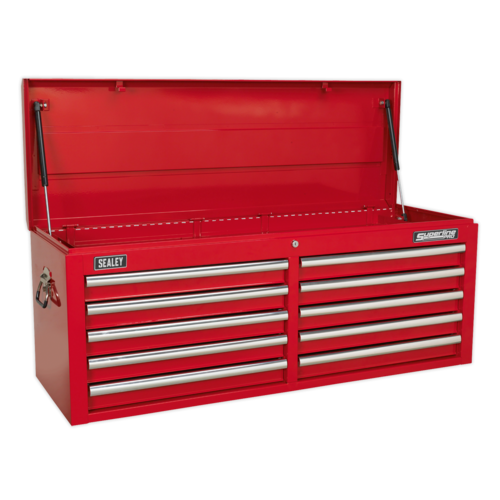 Topchest 10 Drawer with Ball Bearing Slides - Red - Sealey - AP5210T