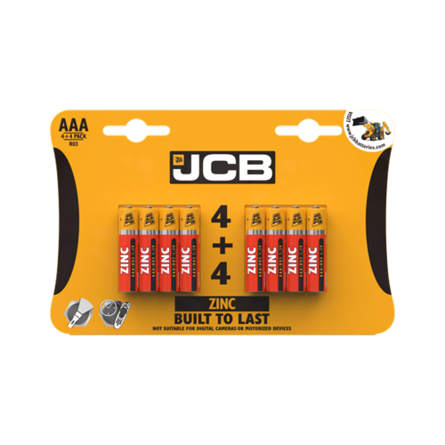 JCB AAA ZINC BATTERIES, PACK OF 4+4
