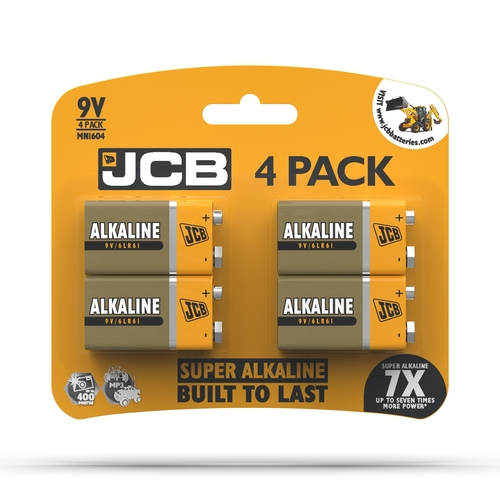 JCB 9V SUPER ALKALINE, PACK OF 4