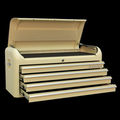Topchest 4 Drawer Wide Retro Style - Cream - Sealey - AP41104