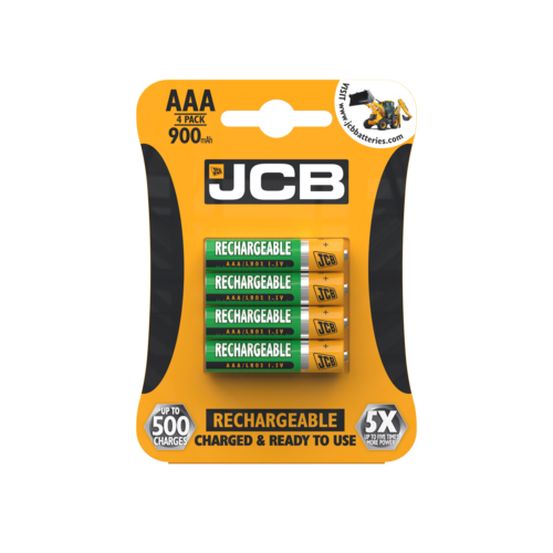 JCB AAA 900MAH RECHARGEABLE, PACK OF 4