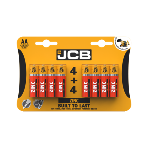 JCB AA ZINC BATTERIES, PACK OF 4+4