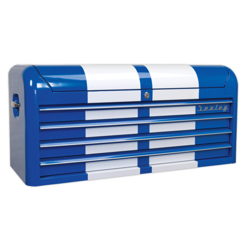Topchest 4 Drawer Wide Retro Style - Blue with White Stripes - AP41104BWS