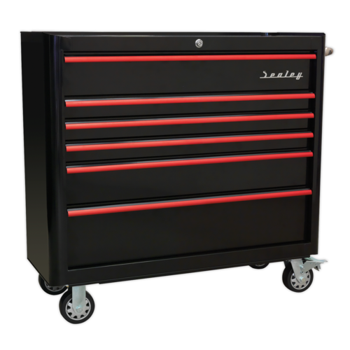Rollcab 6 Drawer Wide Retro Style - Black with Red - Sealey - AP41206BR