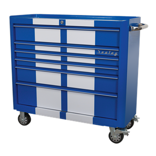Rollcab 6 Drawer Wide Retro Style - Blue with White Stripes - Sealey- AP41206BWS