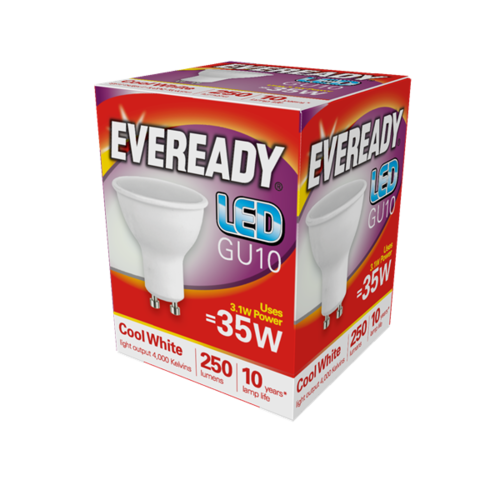 EVEREADY LED GU10 3.1W 250LM 4,000K (COOL WHITE), PACK OF 1 - S14318