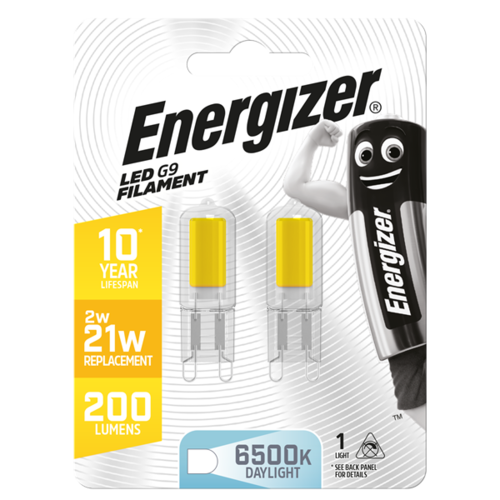 ENERGIZER FILAMENT LED G9 220LM 2W 6,500K (DAYLIGHT), PACK OF 2 - S13014