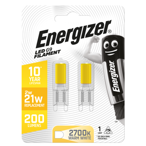 ENERGIZER FILAMENT LED G9 210LM 2W 3,000K (WARM WHITE), PACK OF 2 - S13013