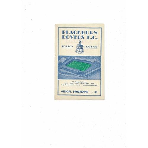1954/55 Blackburn Rovers v Leeds United Football Programme