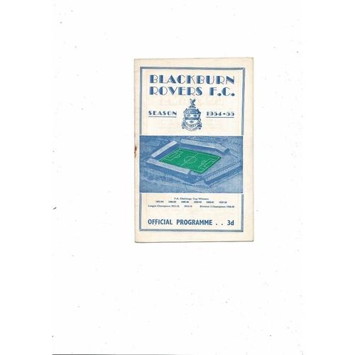 1954/55 Blackburn Rovers v Middlesbrough Football Programme
