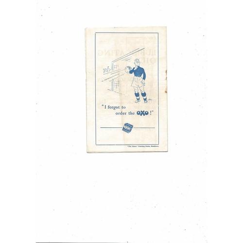 1954/55 Blackburn Rovers v Rotherham United Football Programme