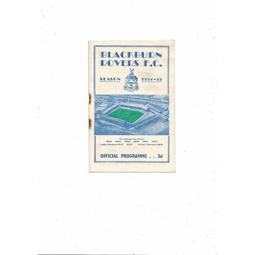 1954/55 Blackburn Rovers v Stoke City Football Programme