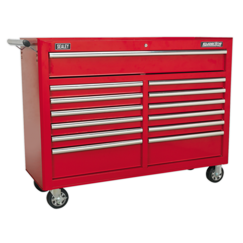 Rollcab 13 Drawer with Ball Bearing Slides - Red - Sealey - AP5213T