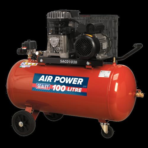 Compressor 100ltr Belt Drive 2hp with Cast Cylinders & Wheels - Sealey- SAC0102B