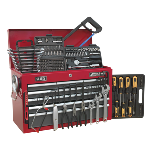Topchest 9 Drawer with Ball Bearing Slides - Red/Grey & 205pc Tool Kit - AP22509BBCOMB
