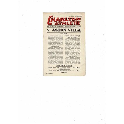 1952/53 Charlton Athletic v Aston Villa Football Programme