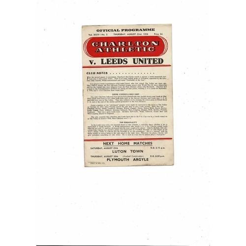1956/57 Charlton Athletic v Leeds United Football Programme