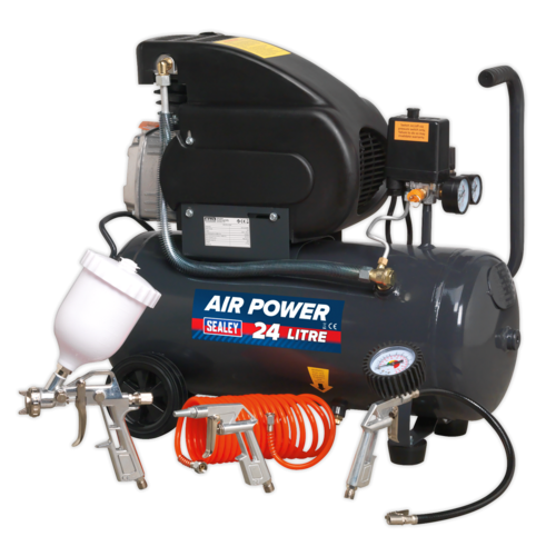 Compressor 24ltr Direct Drive 2hp with 4pc Air Accessory Kit - SAC2420EPK
