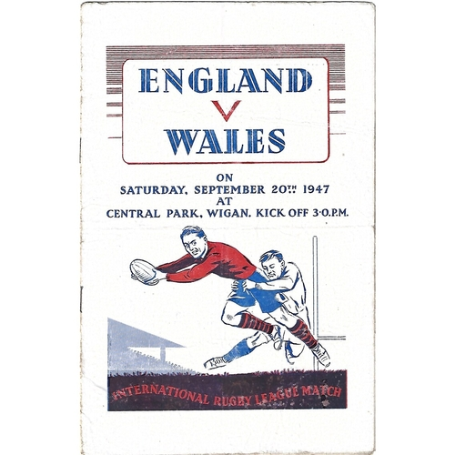1947 England v Wales Rugby League Programme