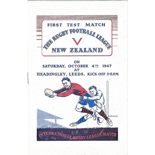 1947 Great Britain v New Zealand First Test Match Rugby League Programme