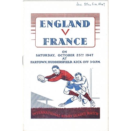 1947 England v France Rugby League Programme