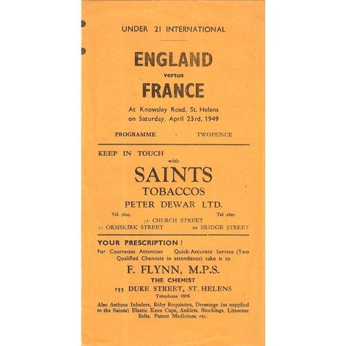 1949 England Under-21 v France Under-21 Rugby League Programme