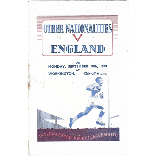 1949 Other Nationalities v England Rugby League Programme