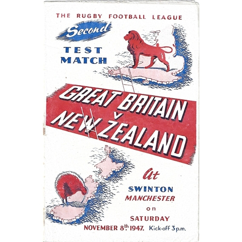 1947 Great Britain v New Zealand Second Test Match Rugby League Programme