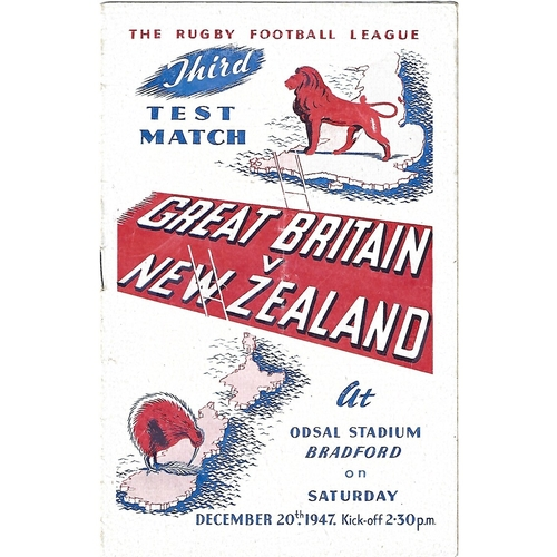 1947 Great Britain v New Zealand Third Test Match Rugby League Programme