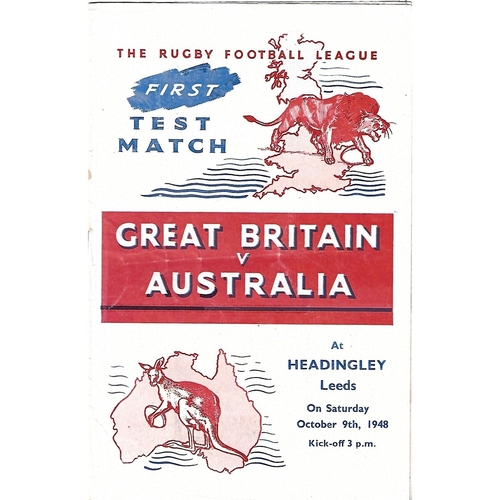 1948 Great Britain v Australia First Test Match Rugby League Programme